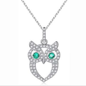 "925 Sterling Silver Owl Necklace 18"" Diamonds"